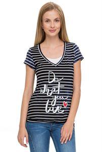 """Изображение Футболка """"Дарси"""" т.синяя с белыми полосками для беременных и кормящих"""