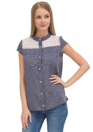 Picture of Hanna Maternity And Nursing Blouse; color: dark denim/flowers