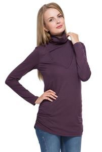 Picture of Maternity and nursing turtleneck Universal eggplant melange