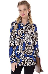 "Picture of Blouse ""Arhelia"" Cornflower-blue with flowers maternity and nursing"