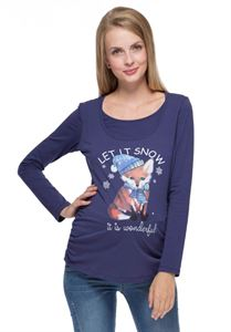 Picture of  Rita Maternity And Nursing Long Sleeve T-Shirt In myrtillus color