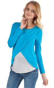 Picture of Olga Maternity And Nursing Long Sleeve T-Shirt In Turquoise