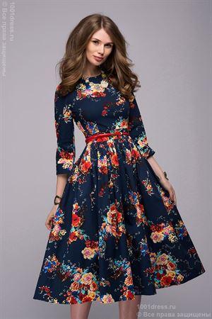 Изображение Платье DM00219BL темно-синее с принтом цветы длины миди