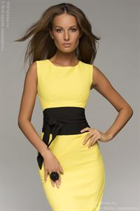 Picture of DM00056YL yellow dress with black belt  mini length