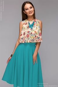 Picture of DM00403TE a Set of skirts of Navy blue MIDI length and cropped top with floral print