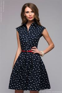 Picture of DM00657BL blue dress length mini print cats and turndown collar