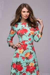 Picture of DM00266MF mint dress length Maxi with a floral print and 3/4 sleeve