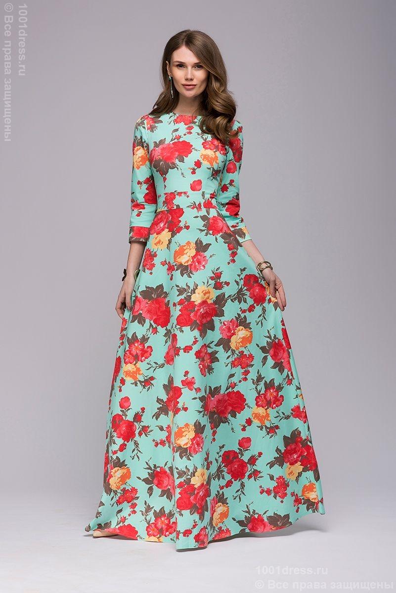 Длинные платья цветочный принт