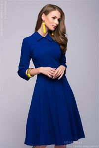 Picture of DM00765CO cornflower blue dress length mini with a fold-over collar and inverted pleat on the skirt