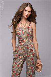 Picture of Jumpsuit DM00630BG beige strappy open-top