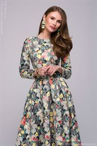 Picture of DM00446BL dress MIDI length with floral print and long sleeves