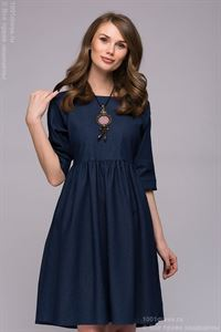 Picture of Dress DM00723DB dark blue denim mini length with Raglan sleeves