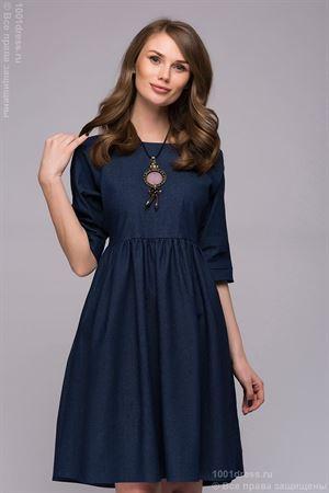 Bild von Kleid DM00723DB marineblau Jeans Länge Mini mit Raglan ärmeln