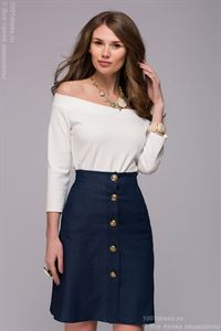 Picture of Blouse DM00740VA vanilla color, off-shoulder and 3/4 sleeves