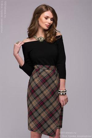 Изображение Блуза DM00740BK черного цвета с открытыми плечами и рукавами 3/4