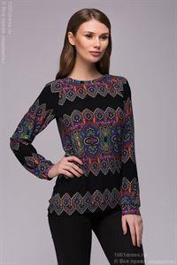 Bild von Sweatshirt DM00769BK schwarz mit orientalischen Ornamenten mit langen ärmeln