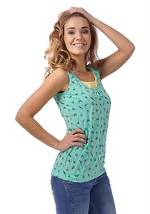 Picture of Greta Maternity And Nursing Tank Top; color: emerald/birds