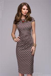 Bild von DM00204BR Kleid Kaffee-Polka dots mit Faltenwurf An der Taille
