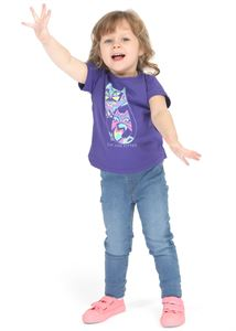 "Picture of T-shirt children's ""I love Mum"" violet/cats"