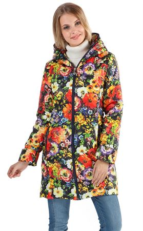 "Picture of Demi-season jacket ""Olivia"" red flowers on blue"