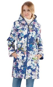 "Picture of Demi-season jacket ""Olivia"" white flowers on blue"