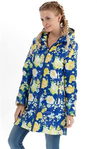 "Picture of Demi-season jacket ""Olivia"" yellow flowers on blue"