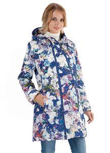 """Image de   Демисезонная куртка  2в1 """"Оливия"""" белые цветы на синем для беременных"""