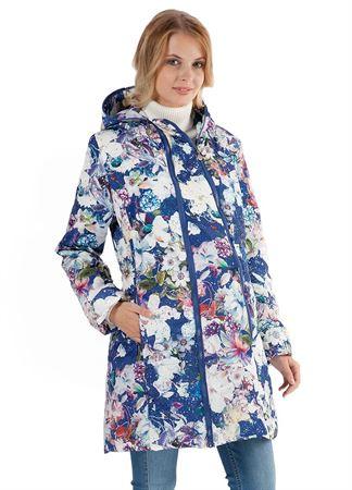 """[translate] Изображение   Демисезонная куртка  2в1 """"Оливия"""" белые цветы на синем для беременных"""