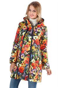 """Image de   Демисезонная куртка  2в1 """"Оливия"""" красные цветы на синем для беременных"""