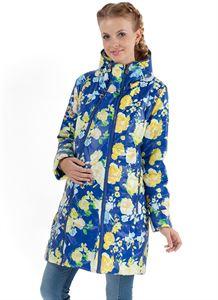 """Image de   Демисезонная куртка  2в1 """"Оливия"""" желтые цветы на синем для беременных"""