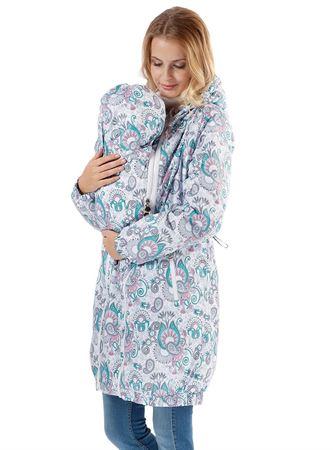 """Obrazek Kurtka """"Voila"""" wzór na fioletowym jesienno-wiosenna 3 w 1 dla kobiet w ciąży i do noszenia dziecka w chuście"""