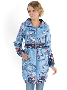 "Picture of ""Simonа"" Demi-Season Coat  flowers on blue"