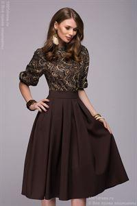 """Изображение Платье DM00234BD темно-коричневое длины миди с принтованным верхом и рукавом """"летучая мышь"""""""