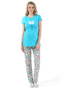 "Picture of ""Uyt"" Maternity set color: turquoise/grey"