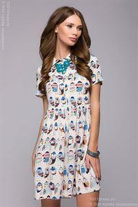 Picture of Dress FL00016VA color: vanilla, owls