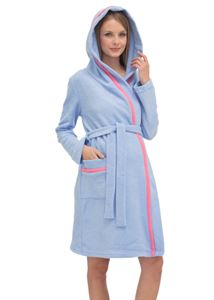 "Picture of Bathrobe fleece ""taffy"" blue for pregnant and lactating"