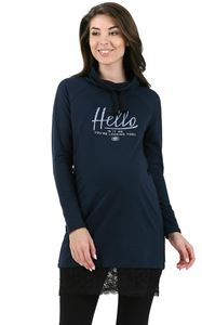 "Picture of ""Cheryl"" maternity and nursing tunic; color: dark blue"