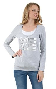 "Picture of T-shirt long sleeve ""Gabija"" Maternity and nursing ; colour: grey melange"