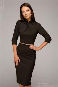 Изображение Платье DM00455CE футляр коричневое в горошек длины миди с имитацией галстука