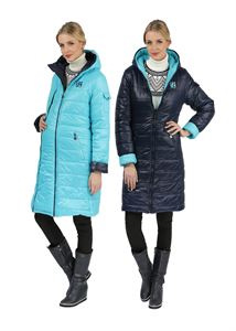 Picture of Winter jacket 2in1 Laura Bruno double-sided medium blue for pregnant women, ordinary