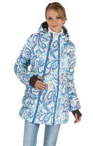 """Изображение Зимняя куртка 2в1 """"Мальта"""" голубой узор для беременных, обычная"""