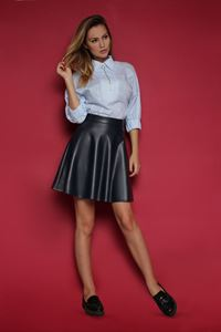 Picture of Skirt FH30091 eco leather color: dark blue