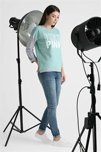 "Picture of Sweatshirt ""Evelina"" pink print color: mint"
