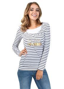 """Obrázek Tričko s dlouhým rukávem """"Gabija"""" pro těhotné a kojící; barva: bílá proužek"""