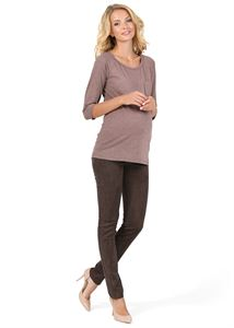 "Picture of Pants ""Swayd"" for pregnant eco-suede;  color: chocolate"
