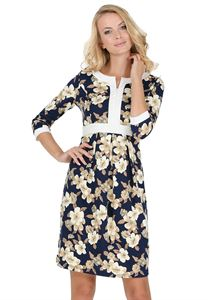 """Picture of """"Chiara"""" Maternity and nursing dress; color: blue / beige"""