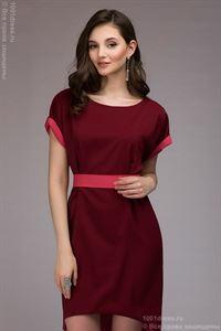 Bild von Kleid DM00394BC ist ein zweistöckiges zweiseitiges Kleid; Farbe: Burgunder / Koralle