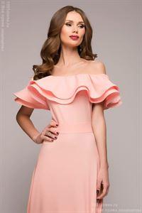 Bild von Maxi Länge Kleid DM00546CR mit Volants an den Schultern; Farbe: Koralle