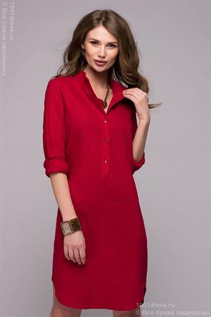 Bild von Kleid DM00772RD rot Mini-Länge mit Schnitten an den Seiten