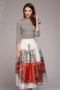 Bild von Midi Länge Kleid DM00884GY; Farbe: grau / print London
